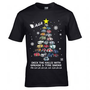 Premium Koolart Cartoon Cars Deck The Halls Christmas Tree Novelty Motif Car Enthusiast Xmas T-Shirt